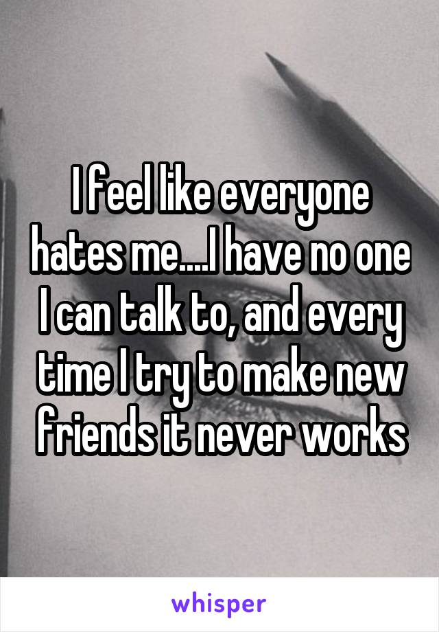 I feel like everyone hates me....I have no one I can talk to, and every time I try to make new friends it never works