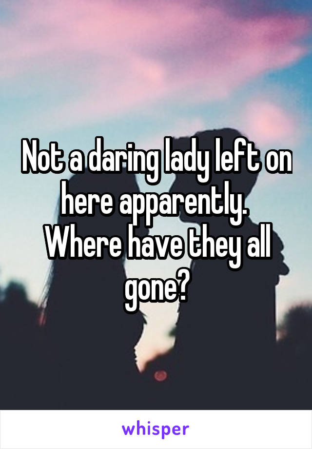 Not a daring lady left on here apparently.  Where have they all gone?