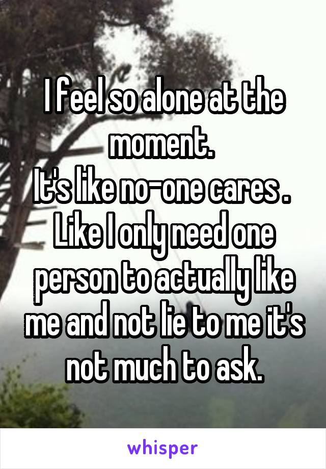 I feel so alone at the moment.  It's like no-one cares .  Like I only need one person to actually like me and not lie to me it's not much to ask.