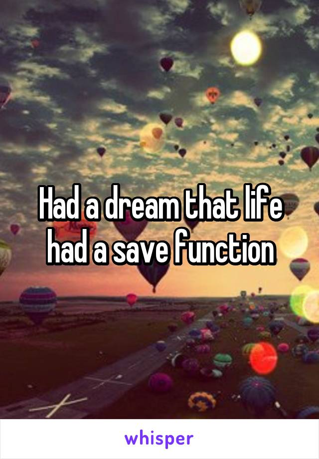 Had a dream that life had a save function