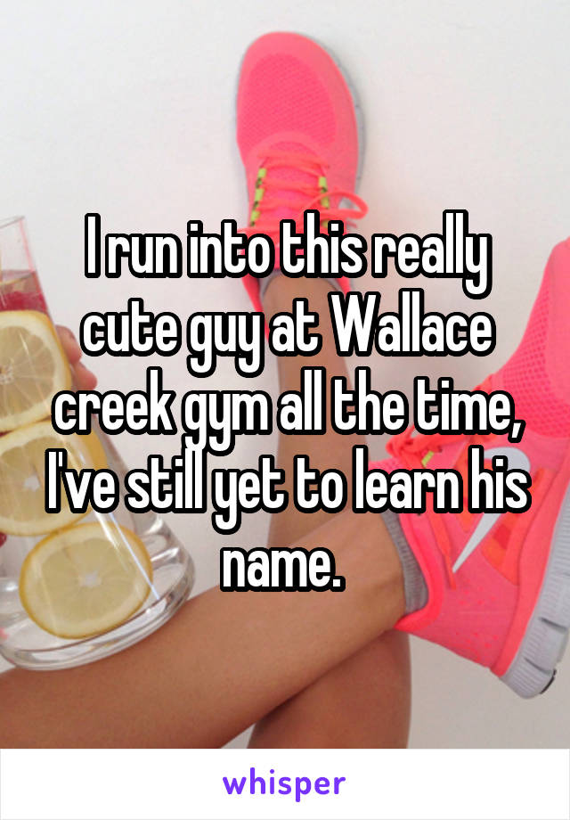 I run into this really cute guy at Wallace creek gym all the time, I've still yet to learn his name.