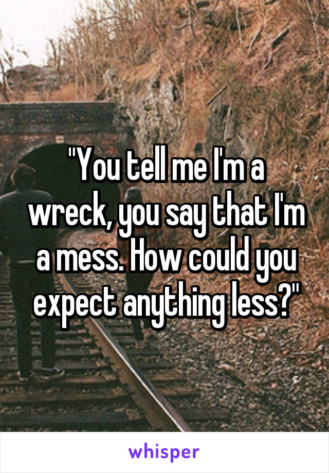"""""""You tell me I'm a wreck, you say that I'm a mess. How could you expect anything less?"""""""