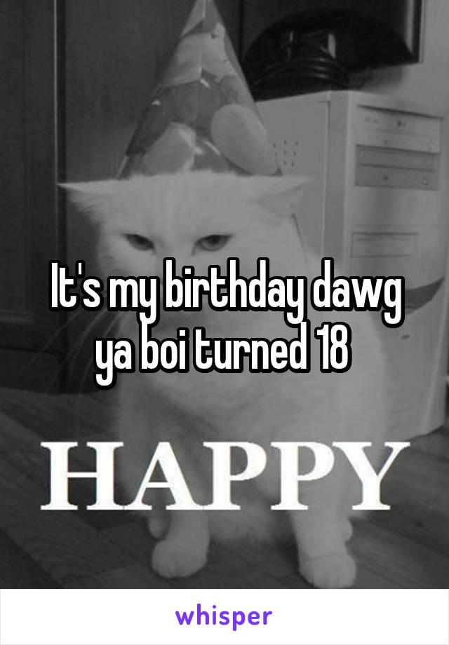 It's my birthday dawg ya boi turned 18