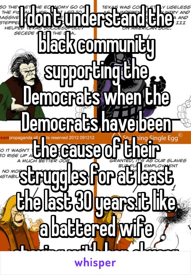 I don't understand the black community supporting the Democrats when the Democrats have been the cause of their struggles for at least the last 30 years.it like a battered wife staying with her abuser