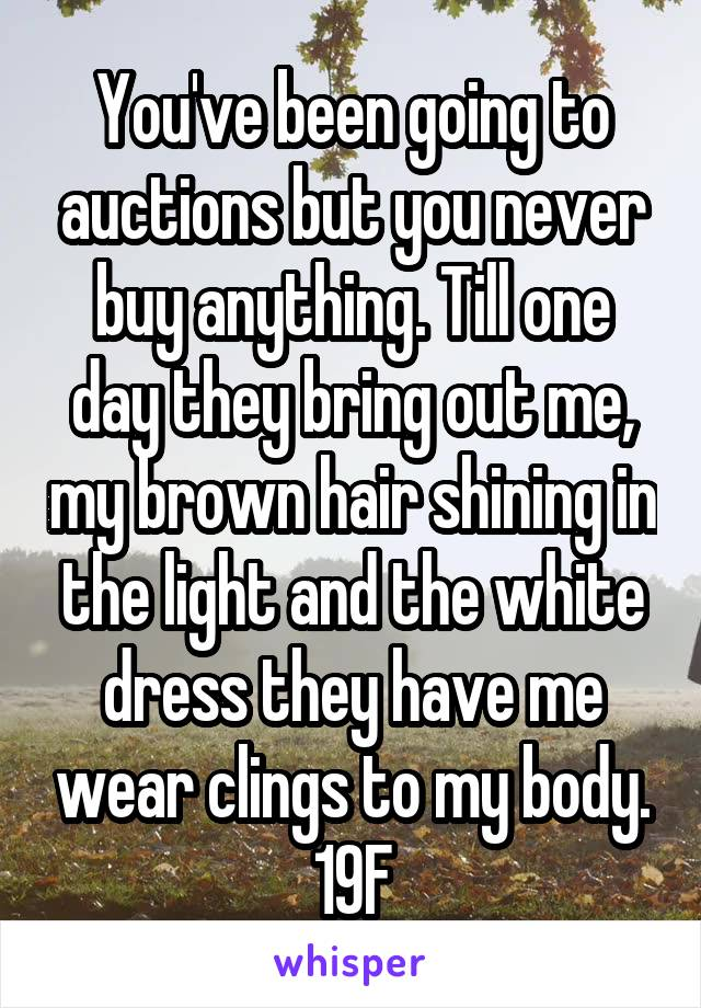 You've been going to auctions but you never buy anything. Till one day they bring out me, my brown hair shining in the light and the white dress they have me wear clings to my body. 19F