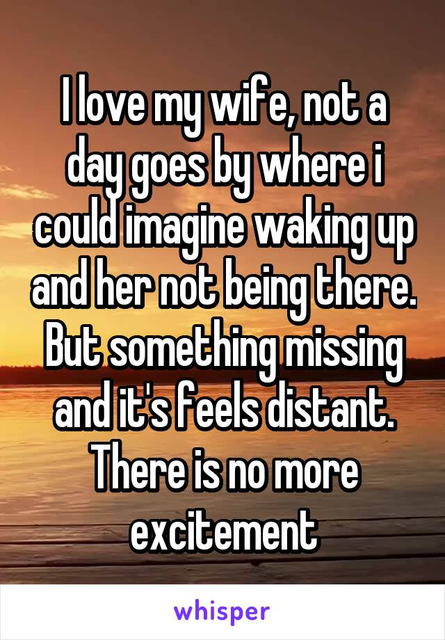 I love my wife, not a day goes by where i could imagine waking up and her not being there. But something missing and it's feels distant. There is no more excitement
