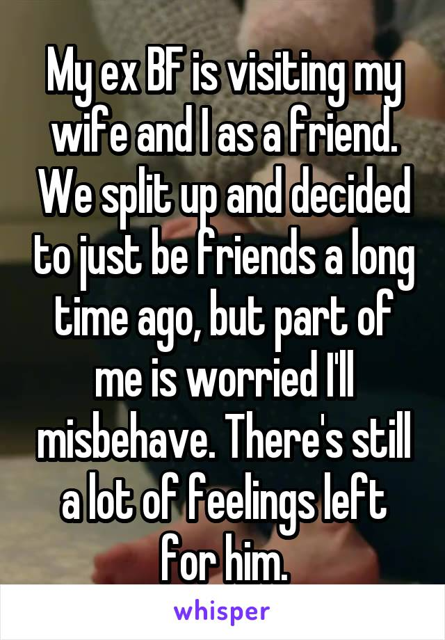 My ex BF is visiting my wife and I as a friend. We split up and decided to just be friends a long time ago, but part of me is worried I'll misbehave. There's still a lot of feelings left for him.