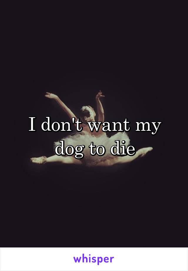 I don't want my dog to die