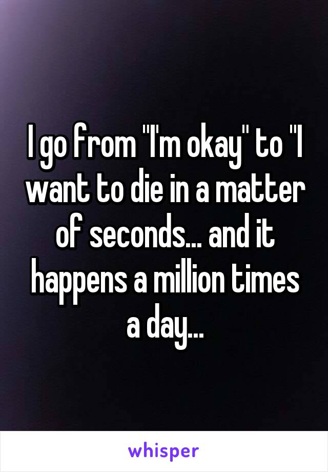 "I go from ""I'm okay"" to ""I want to die in a matter of seconds... and it happens a million times a day..."