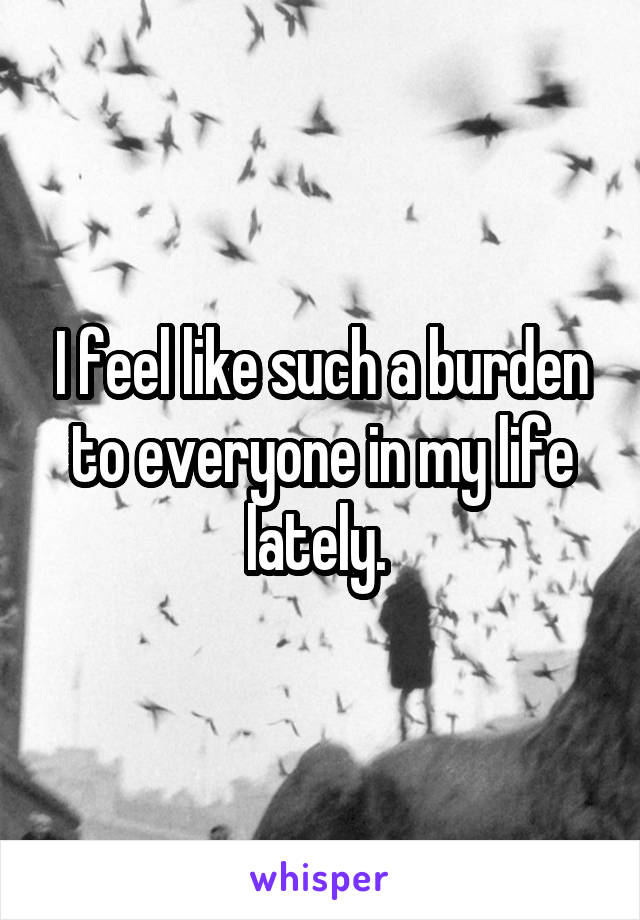 I feel like such a burden to everyone in my life lately.