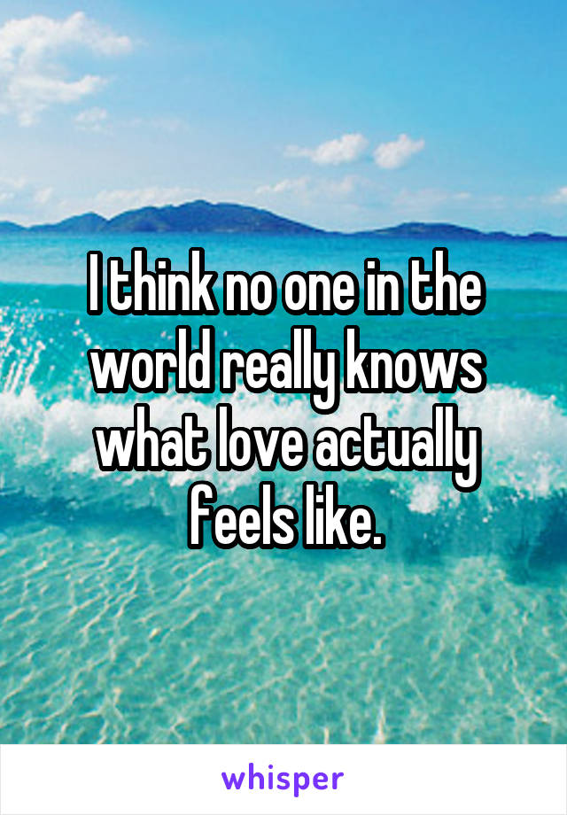 I think no one in the world really knows what love actually feels like.