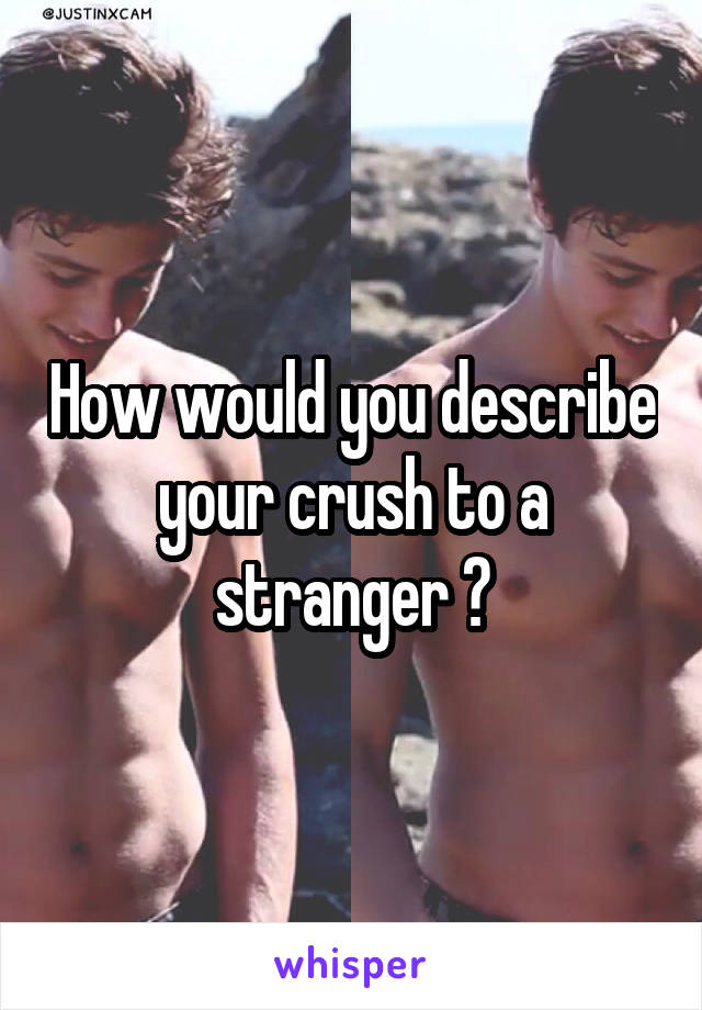 How would you describe your crush to a stranger ?