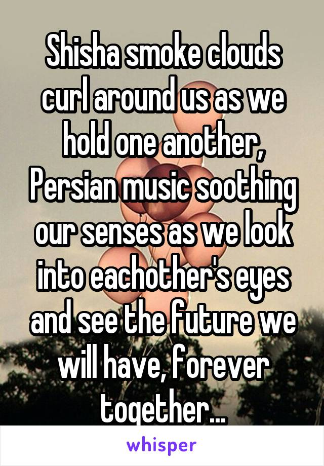Shisha smoke clouds curl around us as we hold one another, Persian music soothing our senses as we look into eachother's eyes and see the future we will have, forever together...
