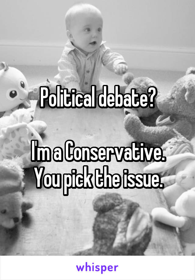 Political debate?  I'm a Conservative. You pick the issue.