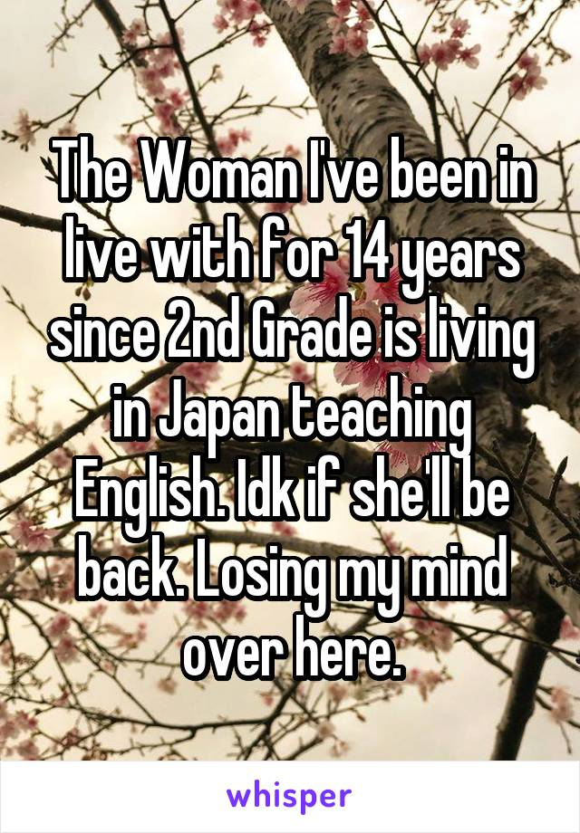The Woman I've been in live with for 14 years since 2nd Grade is living in Japan teaching English. Idk if she'll be back. Losing my mind over here.