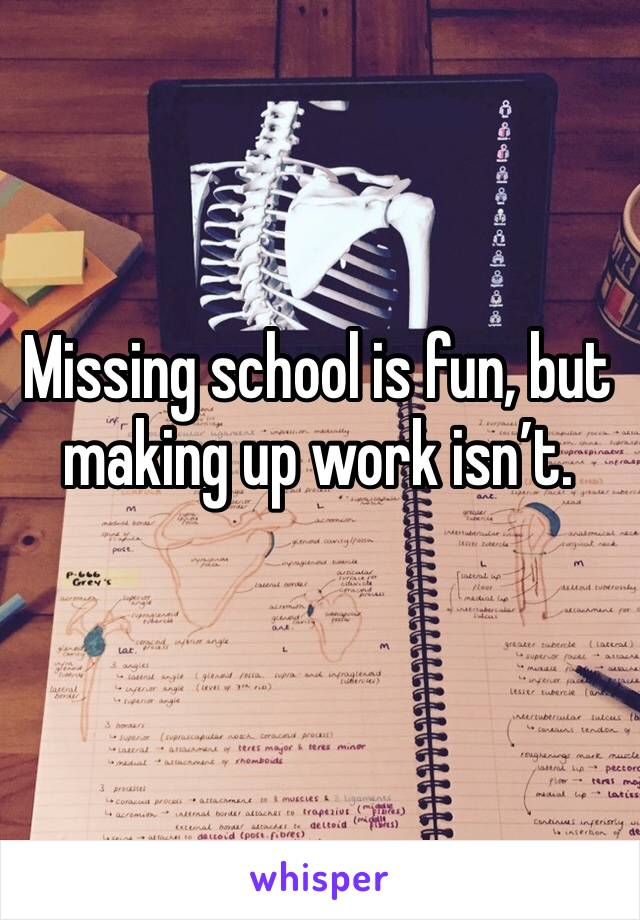 Missing school is fun, but making up work isn't.