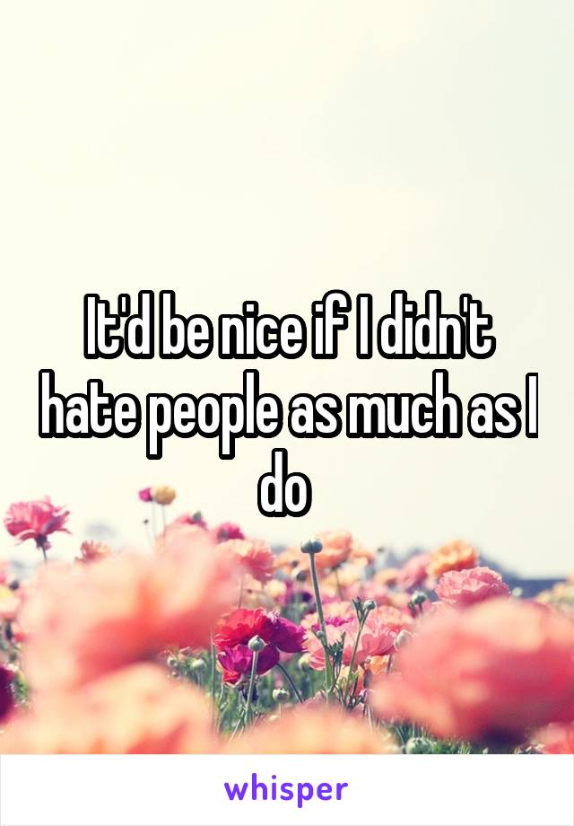 It'd be nice if I didn't hate people as much as I do