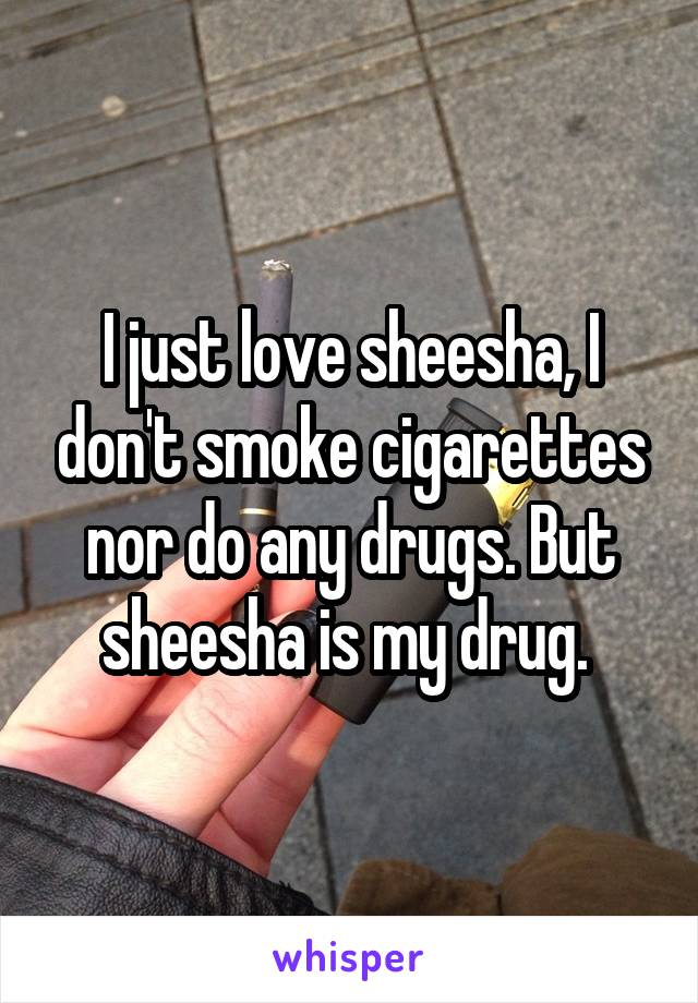I just love sheesha, I don't smoke cigarettes nor do any drugs. But sheesha is my drug.