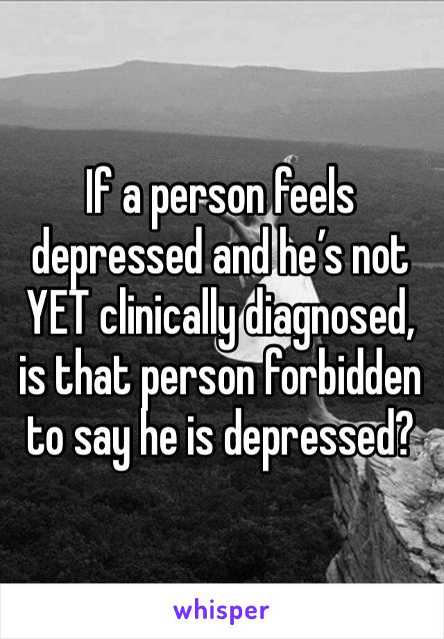 If a person feels depressed and he's not YET clinically diagnosed, is that person forbidden to say he is depressed?