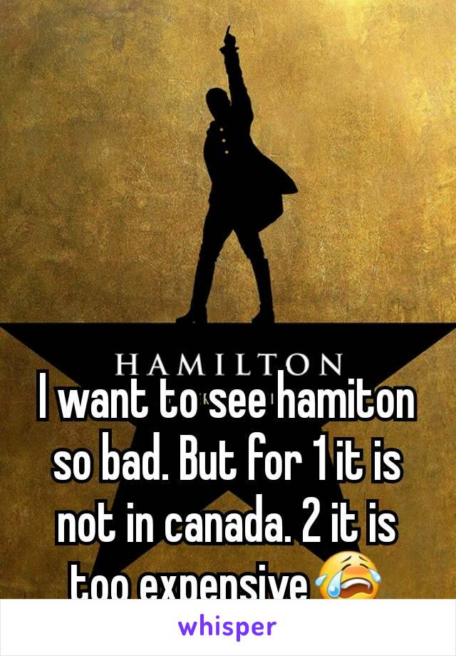 I want to see hamiton so bad. But for 1 it is not in canada. 2 it is too expensive😭