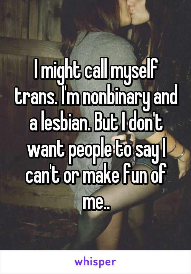 I might call myself trans. I'm nonbinary and a lesbian. But I don't want people to say I can't or make fun of me..