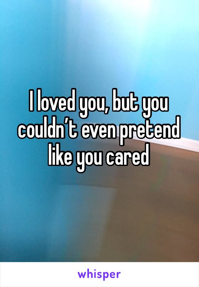 I loved you, but you couldn't even pretend like you cared