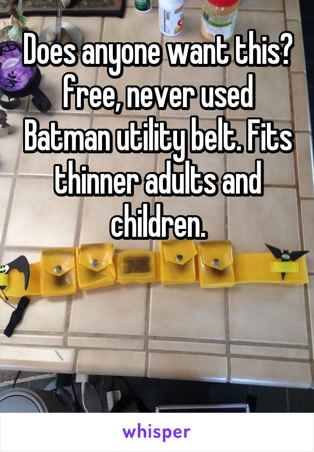 Does anyone want this? free, never used Batman utility belt. Fits thinner adults and children.
