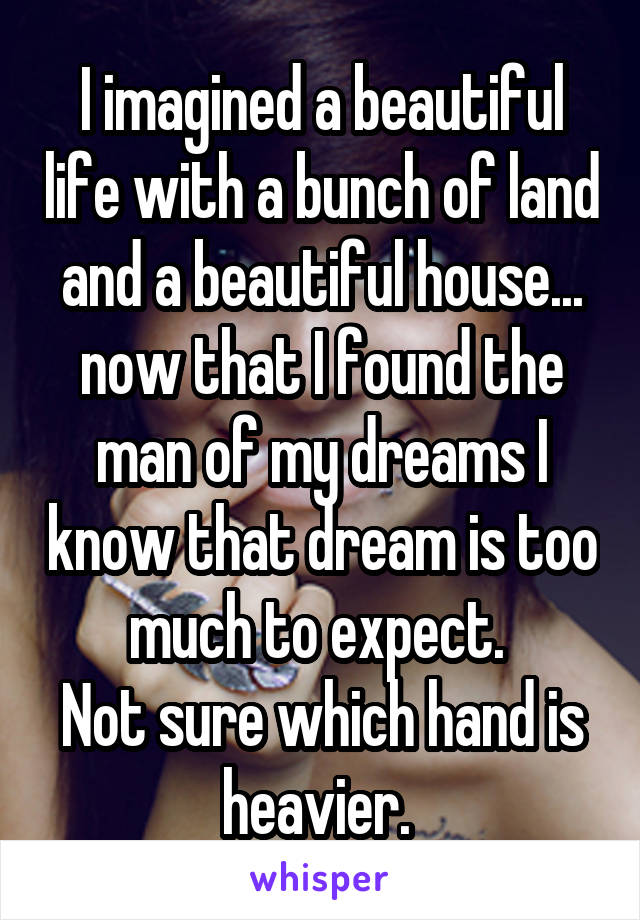 I imagined a beautiful life with a bunch of land and a beautiful house... now that I found the man of my dreams I know that dream is too much to expect.  Not sure which hand is heavier.