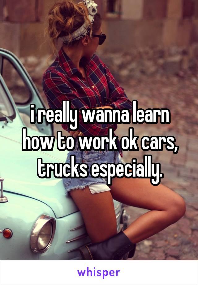 i really wanna learn how to work ok cars, trucks especially.