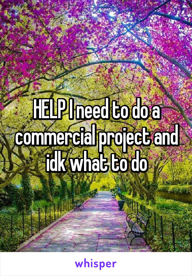 HELP I need to do a commercial project and idk what to do