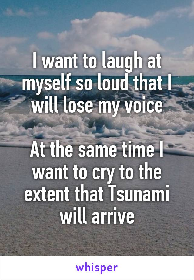 I want to laugh at myself so loud that I will lose my voice  At the same time I want to cry to the extent that Tsunami will arrive