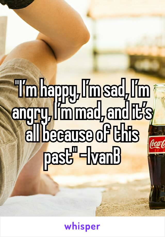 """""""I'm happy, I'm sad, I'm angry, I'm mad, and it's all because of this past"""" -IvanB"""