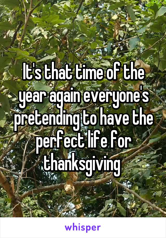 It's that time of the year again everyone's pretending to have the perfect life for thanksgiving