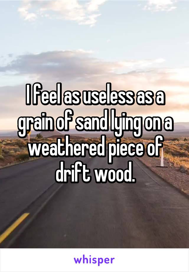 I feel as useless as a grain of sand lying on a weathered piece of drift wood.