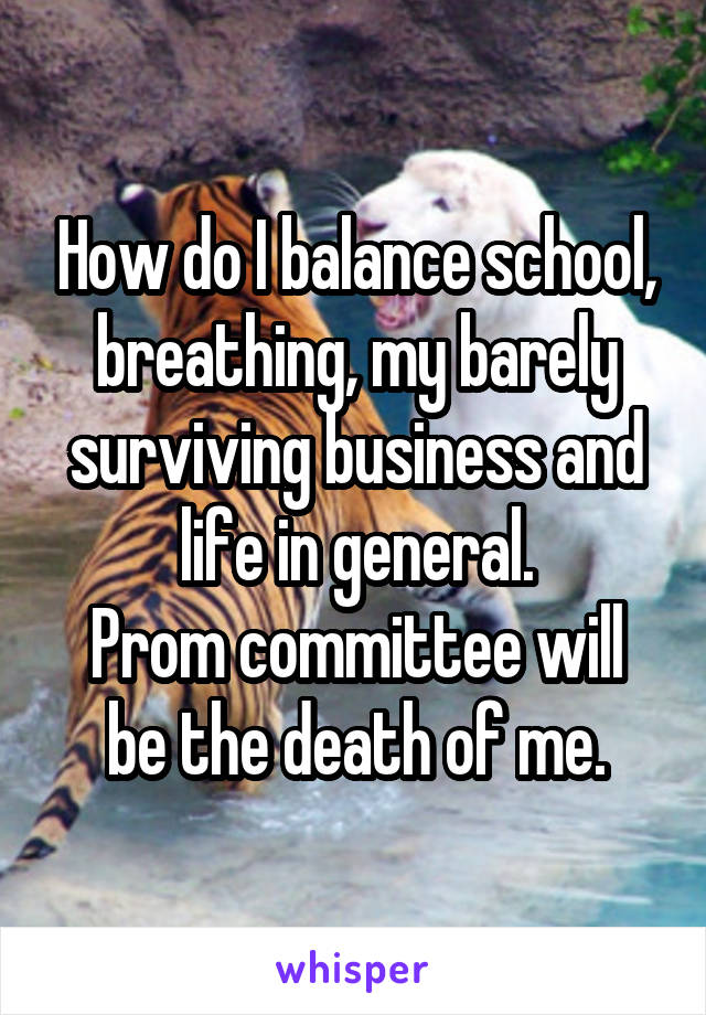 How do I balance school, breathing, my barely surviving business and life in general. Prom committee will be the death of me.