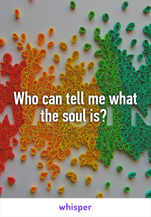 Who can tell me what the soul is?