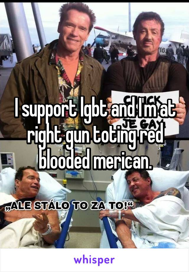 I support lgbt and I'm at right gun toting red blooded merican.