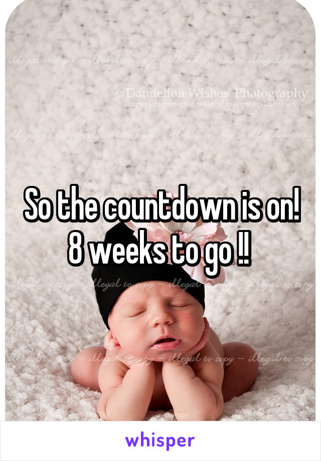 So the countdown is on! 8 weeks to go !!