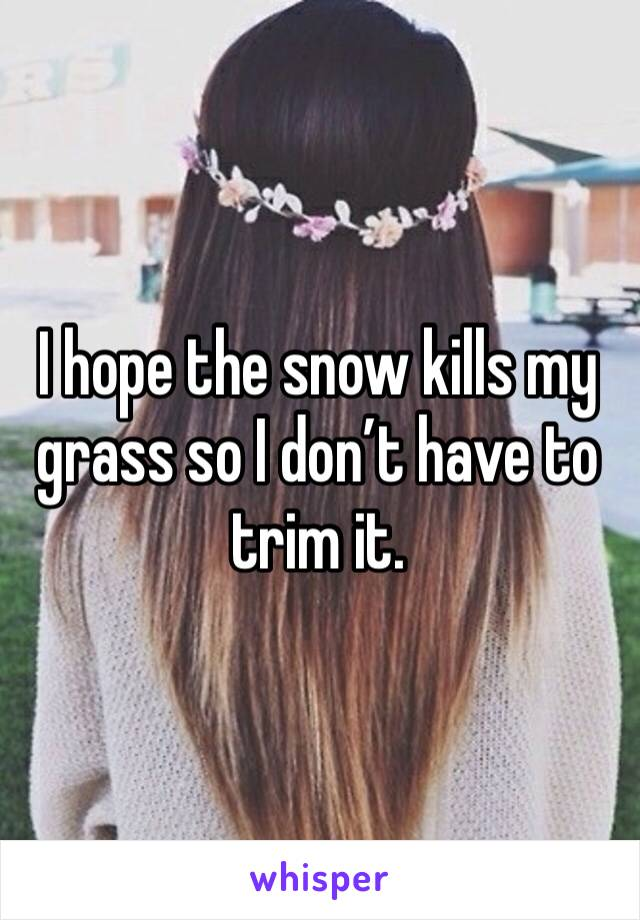 I hope the snow kills my grass so I don't have to trim it.