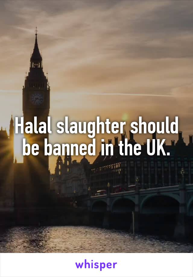 Halal slaughter should be banned in the UK.