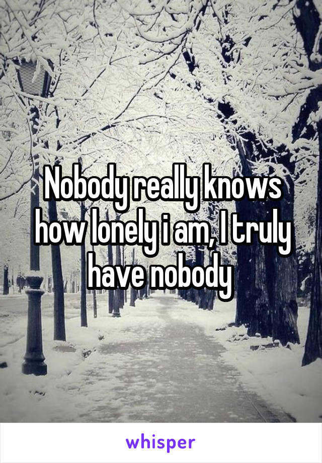 Nobody really knows how lonely i am, I truly have nobody