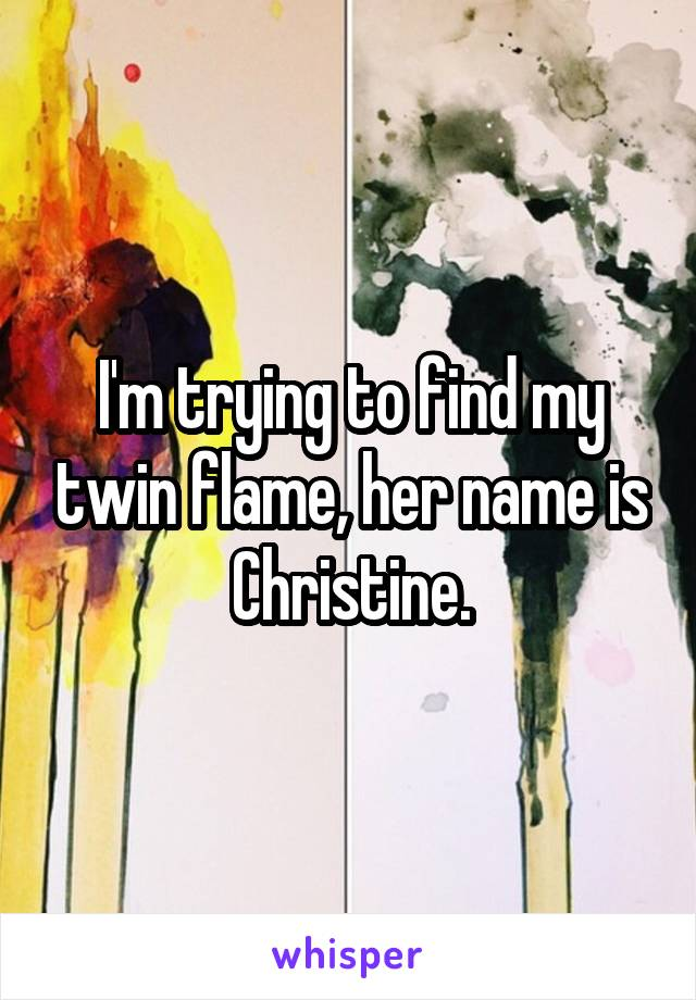 I'm trying to find my twin flame, her name is Christine.