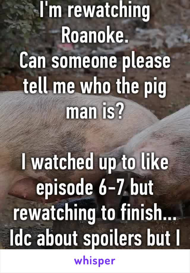 I'm rewatching Roanoke.  Can someone please tell me who the pig man is?  I watched up to like episode 6-7 but rewatching to finish... Idc about spoilers but I wanna know 😂