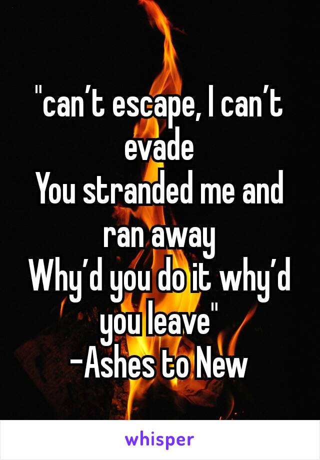 """""""can't escape, I can't evade You stranded me and ran away Why'd you do it why'd you leave"""" -Ashes to New"""