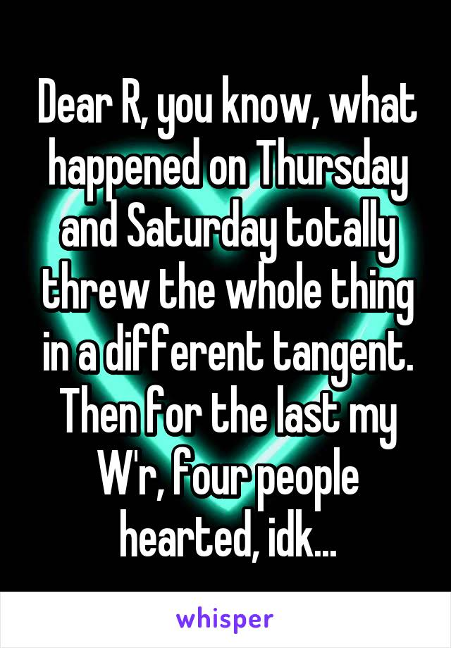 Dear R, you know, what happened on Thursday and Saturday totally threw the whole thing in a different tangent. Then for the last my W'r, four people hearted, idk...