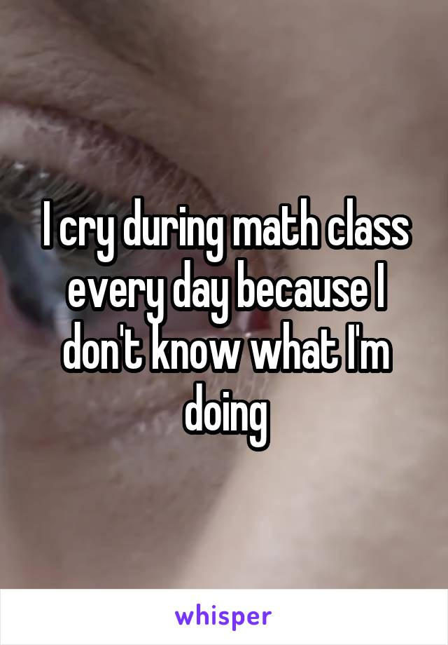 I cry during math class every day because I don't know what I'm doing