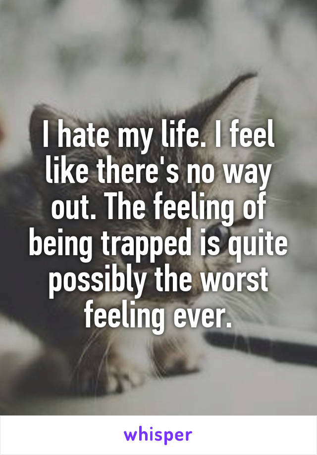 I hate my life. I feel like there's no way out. The feeling of being trapped is quite possibly the worst feeling ever.