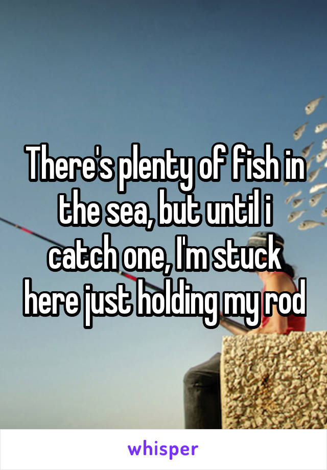 There's plenty of fish in the sea, but until i catch one, I'm stuck here just holding my rod