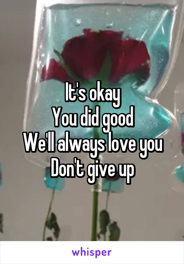 It's okay You did good We'll always love you Don't give up