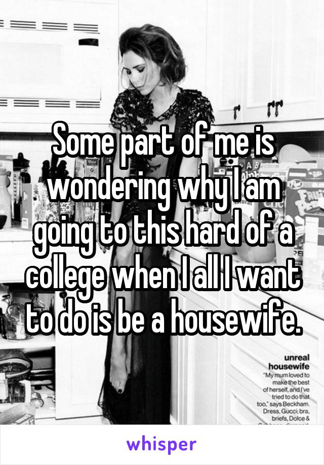 Some part of me is wondering why I am going to this hard of a college when I all I want to do is be a housewife.